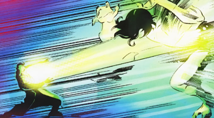 Big Atomic Lantern Boy using his energy blast