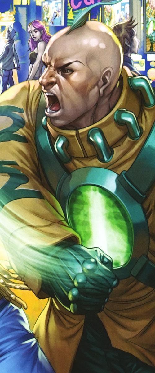 Big Atomic Lantern Boy of Super-Young Team (DC Comics) (Japan) fighting on a Japanese street