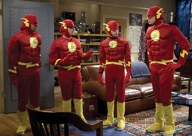 The Big Bang Theory men in Flash costumes