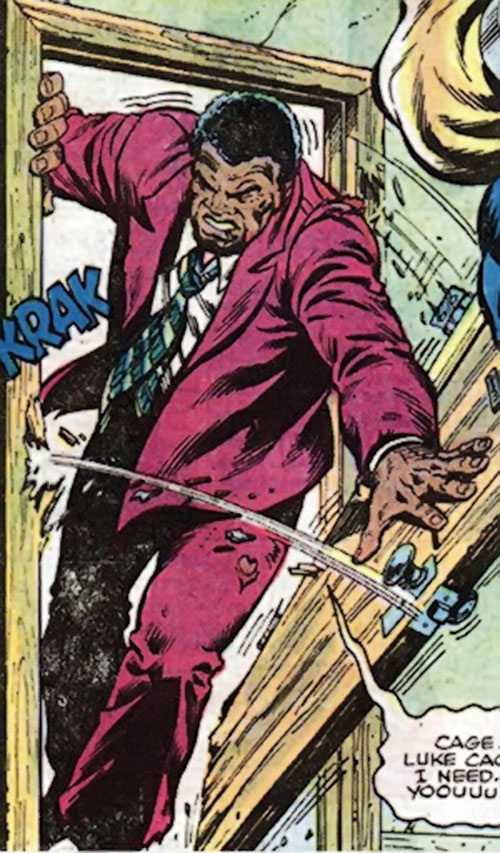 Big Ben Donovan (Luke Cage character) wounded and smashing through a door