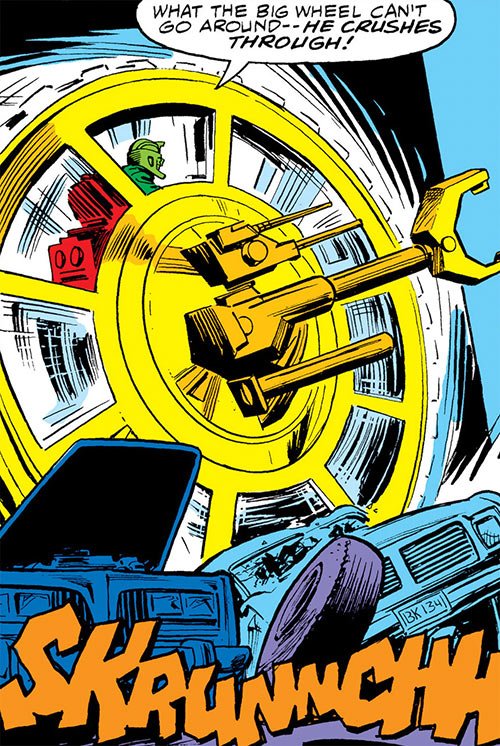Big Wheel (Marvel Comics) (Spider-Man enemy) crushing cars