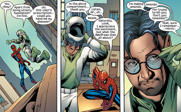Big Wheel (Marvel Comics) (Spider-Man enemy) removes helmet