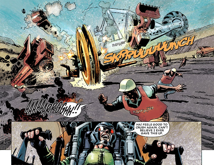 Big Wheel (Marvel Comics) (Spider-Man enemy) wrecking a construction site