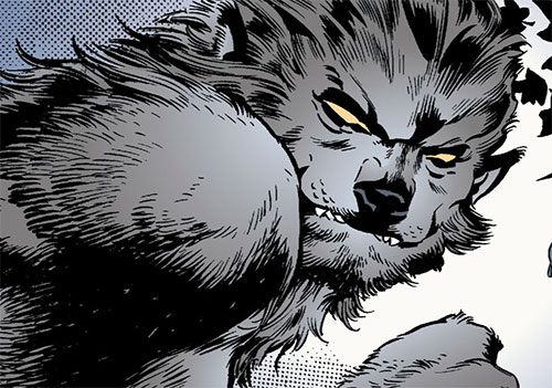 Bigby Wolf from Fables (DC Comics) hybrid form face closeup
