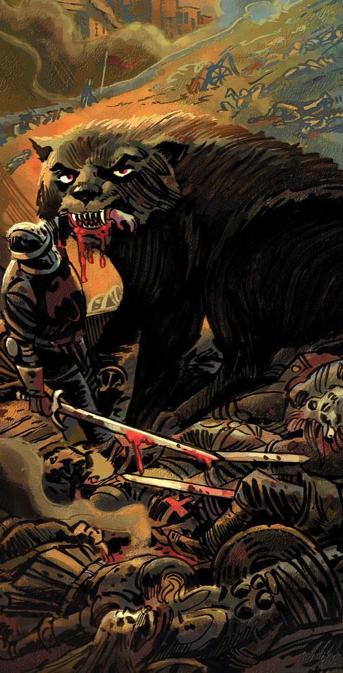 Bigby Wolf from Fables (DC Comics) in wolf form on a medieval battlefield