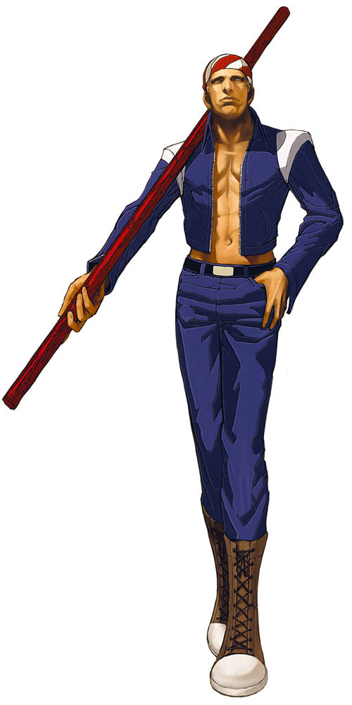 Billy Kane (Fatal Fury, King of Fighters) with a staff on his shoulder