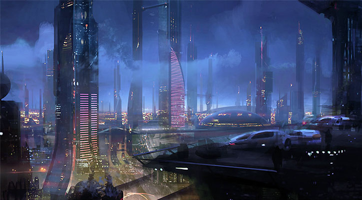 Concept art of the Nos Astras skyline