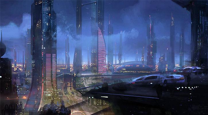 Concept art of the Nos Astras skyline