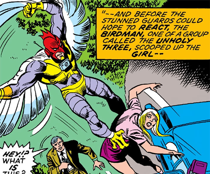 Bird-Man of the Ani-Men (Marvel Comics) flying kidnapping
