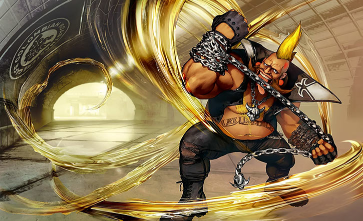 Birdie (Street Fighters) spinning his chain in a tunnel
