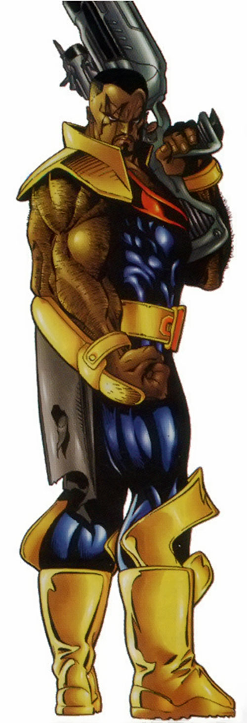 Bishop of the X-Men (Marvel Comics) over a white background