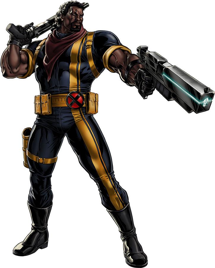 Bishop posing with guns