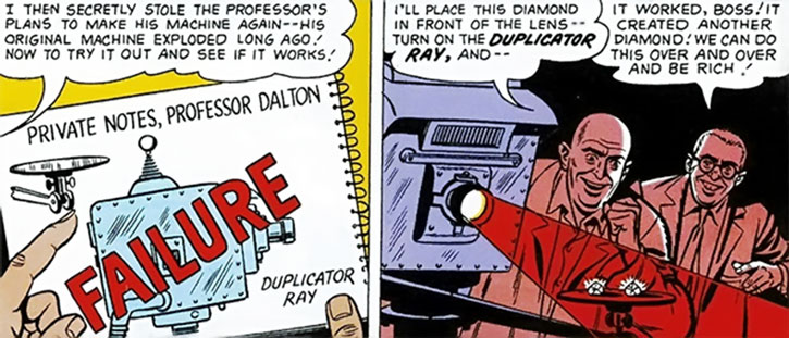 Lex Luthor and an assistant create the bizarro duplicator ray