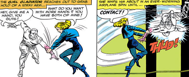 Black Canary (DC Comics) (1960s) throws a thug into a wall