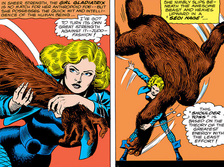 Black Canary (DC Comics) (1960s) judo vs gorilla throw seoi nage