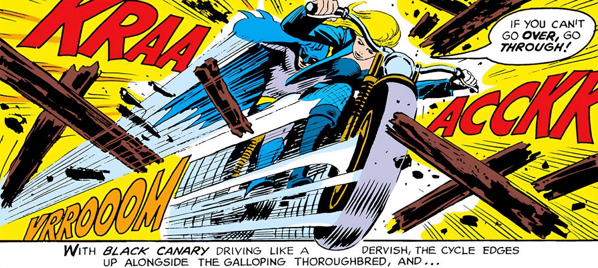 Black Canary (DC Comics) (1970s) crashing barrier motorbike Batman