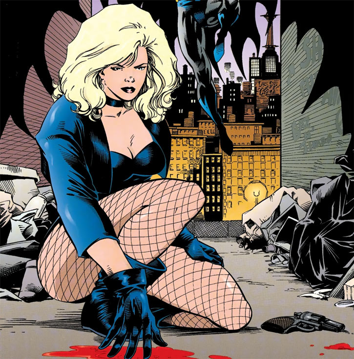 Black Canary (DC Comics) investigating as Batman arrives