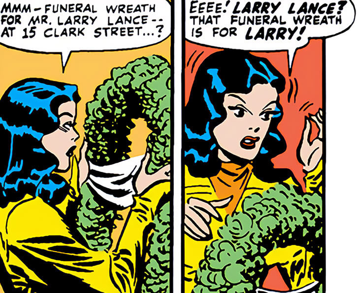 Black Canary (DC Comics) (Golden Age) as Dinah Drake with a wreath