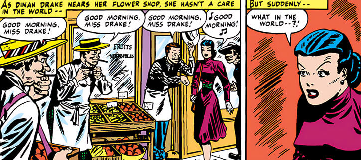 Black Canary (DC Comics) (Golden Age) as Dinah Drake near her flower shop