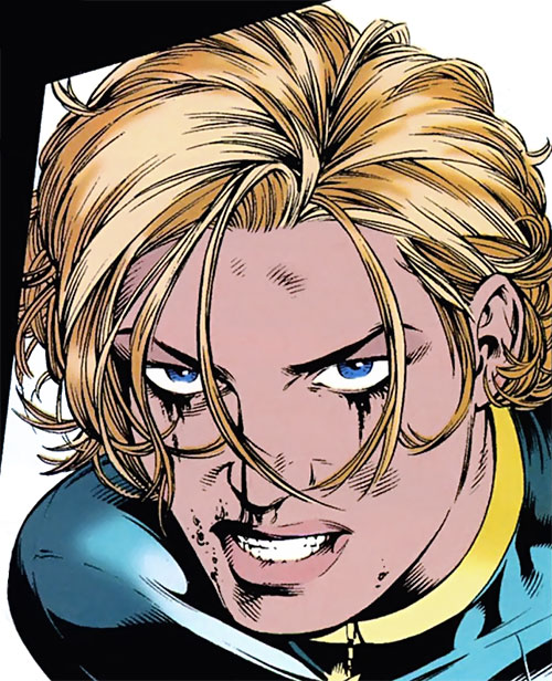 Black Canary (DC Comics) with short hair, after a fight