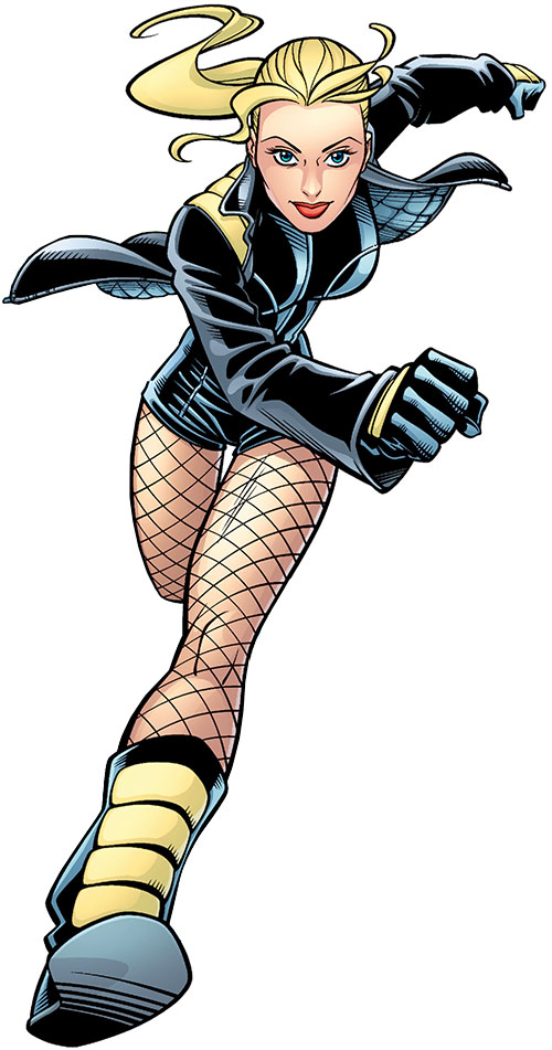 Black Canary (DC Comics) running in mini-shorts