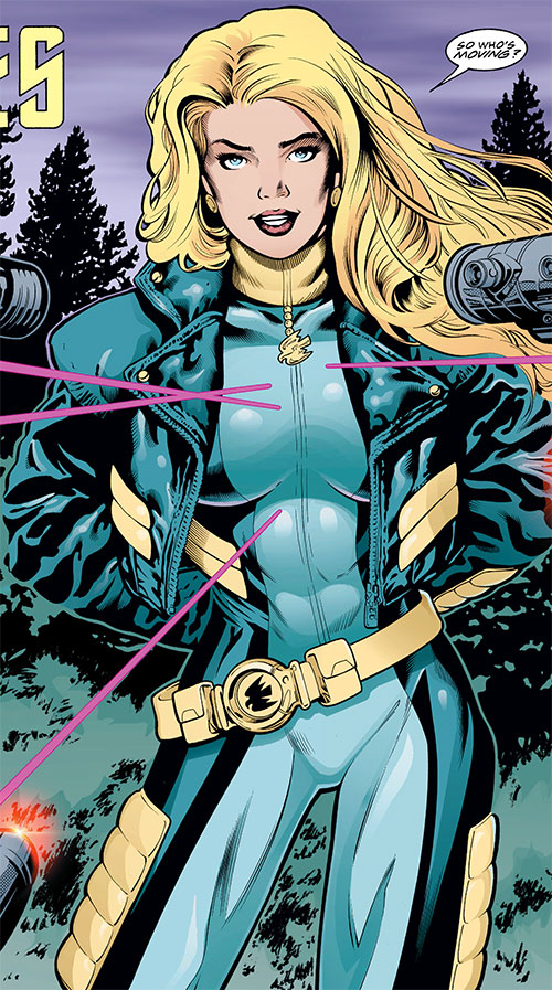 Black Canary (DC Comics) with the light blue and black full costume