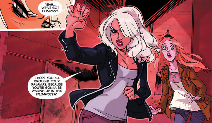 Black Canary (DC Comics) (2010s rock star version) threatening