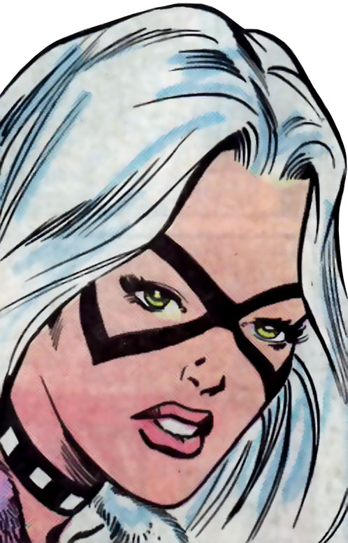Black Cat (Spider-Man character) (Marvel Comics) 1980s face closeup