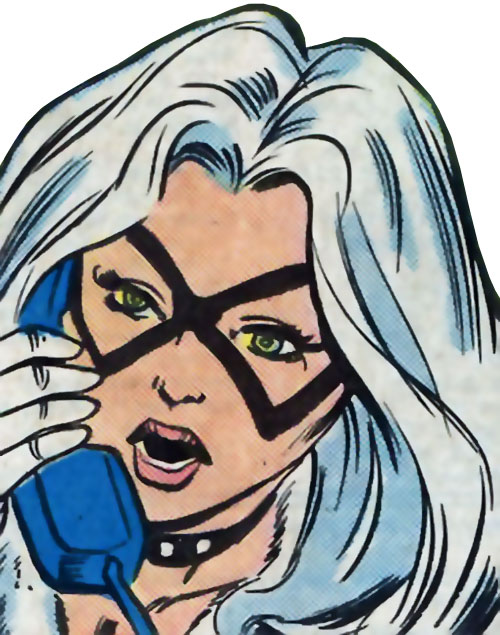Black Cat (Spider-Man character) (Marvel Comics) face closeup on the phone