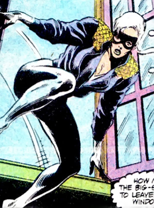Black Cat (Spider-Man character) (Marvel Comics) with the white bodysuit and leather jacket