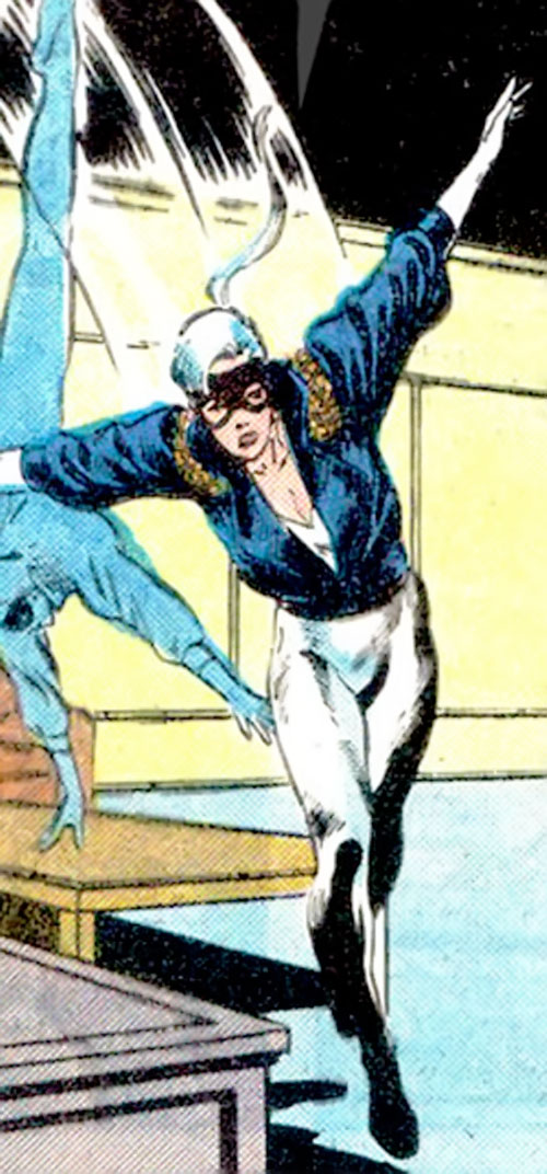 Black Cat (Spider-Man character) (Marvel Comics) with the white bodysuit and leather jacket, doing acrobatics