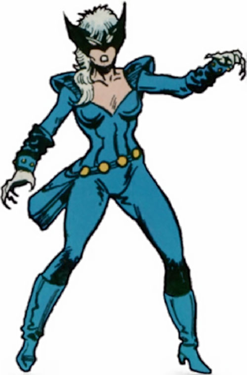 Black Cat (Spider-Man character) (Marvel Comics) with the dark blue costume and winged mask