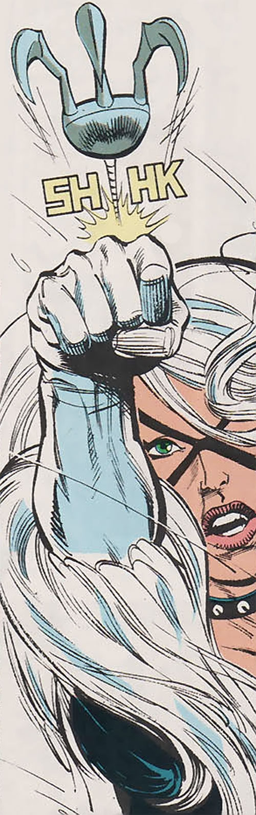 Black Cat (Spider-Man character) (Marvel Comics) shoots a clawed grappling hook