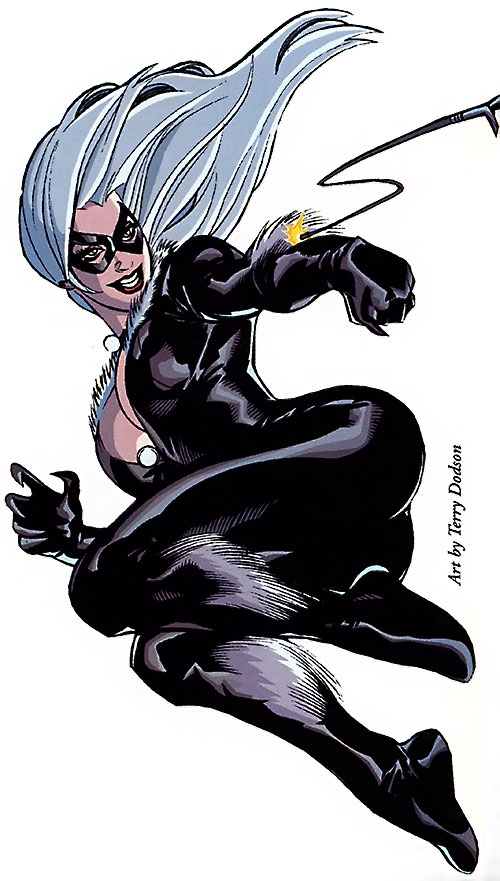 Black Cat (Spider-Man character) (Marvel Comics) using a grappling hook by Dodson