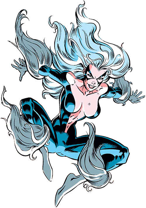 Black Cat (Spider-Man character) (Marvel Comics) leaping with costume open in front