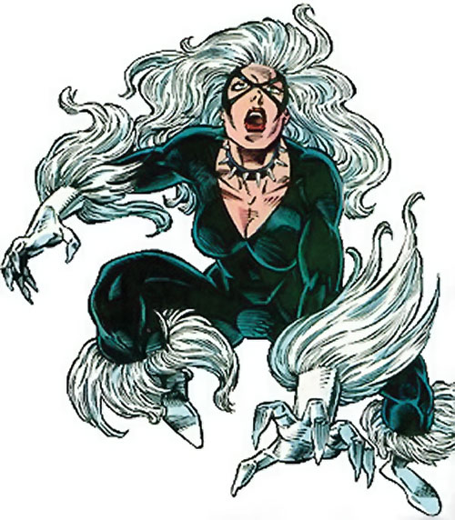 Black Cat (Spider-Man character) (Marvel Comics) leaping and looking up