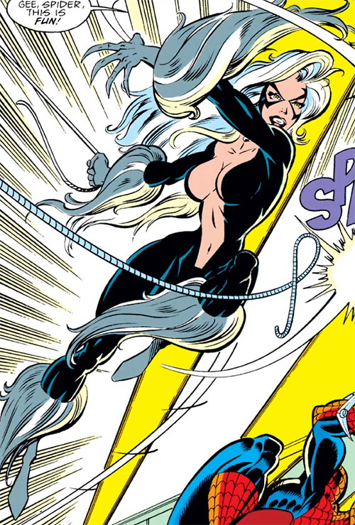 Black Cat (Spider-Man character) (Marvel Comics) slicing through a cable with her claws