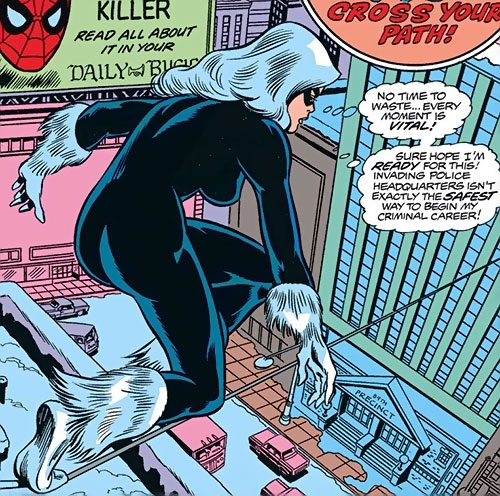 Black Cat (Marvel Comics) (Early) on a tightrope