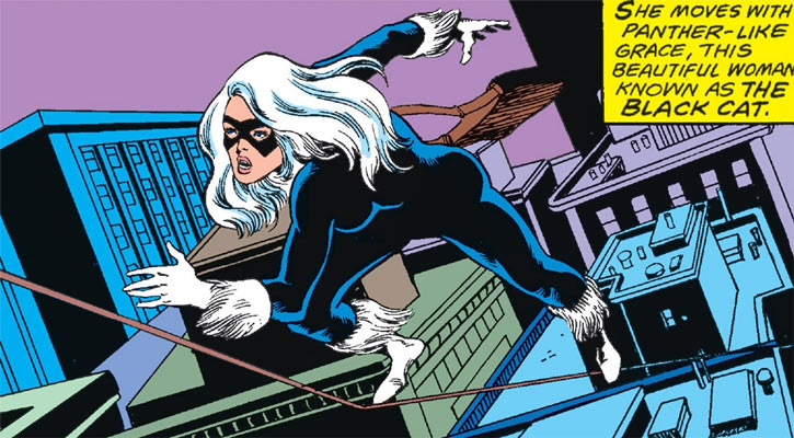 Black Cat (Felicia Hardy) runs on a tightrope
