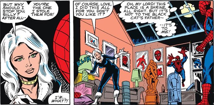 Black Cat (Felicia Hardy) shows her Spider-Man shrine to Spider-Man