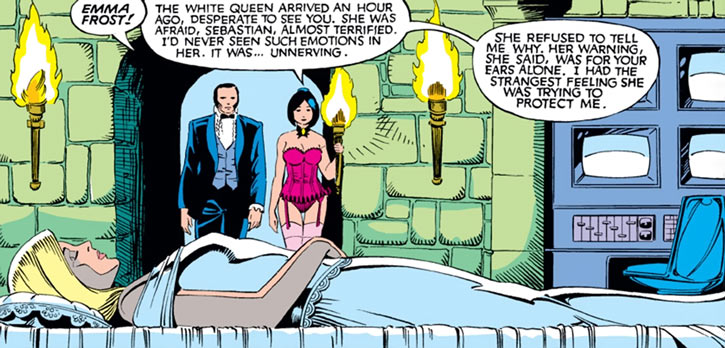Black King Sebastian Shaw (Marvel Comics) (Hellfire Club) with Tessa and Emma Frost