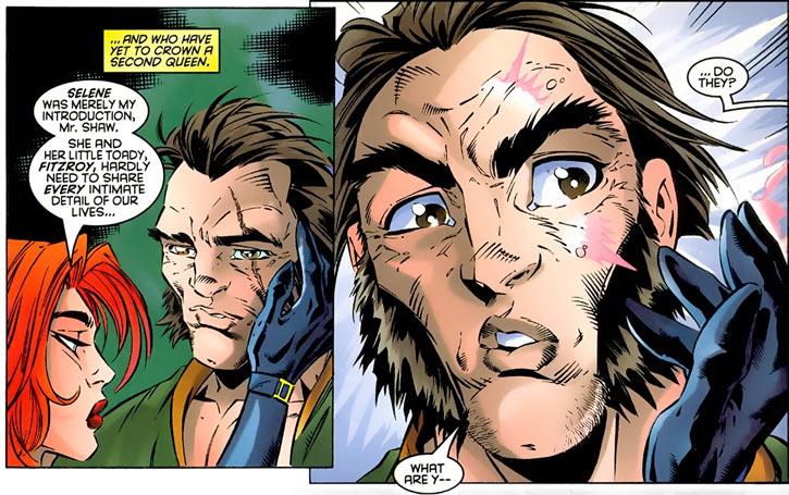 Black King Sebastian Shaw (Marvel Comics) (Hellfire Club) face closeup scar Madeline Pryor