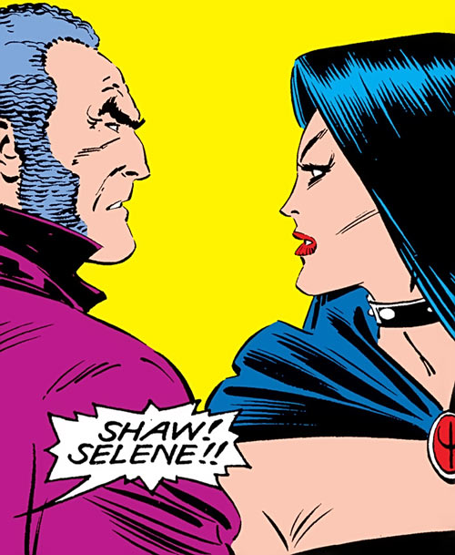Black King Sebastian Shaw (Marvel Comics) (Hellfire Club) and Selene stare