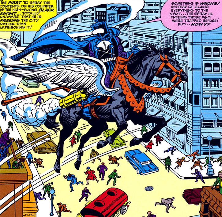 Black Knight (Nathan Garrett) spreading glue over Manhattan