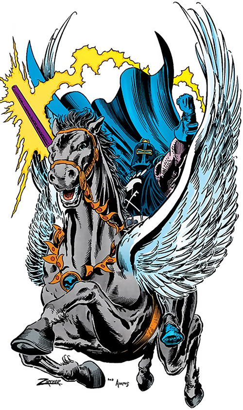 Black Knight (Nathan Garrett) (Marvel Comics) with winged horse and lance by Zircher and Adams