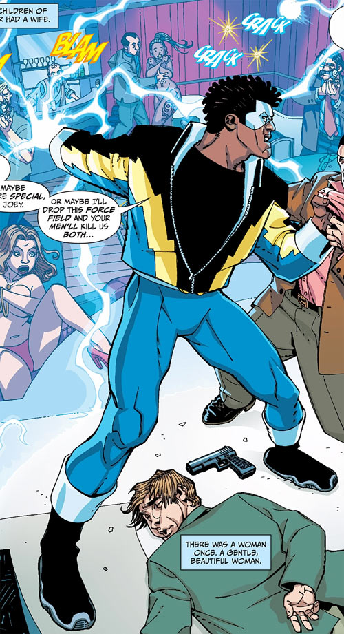 Black Lightning Year One (DC Comics) fighting in a strip club