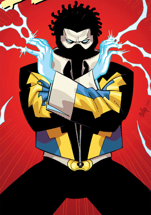 Black Lightning Year One (DC Comics) on a red background