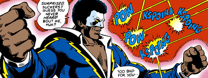 Black Lightning uses his force field against gunfire
