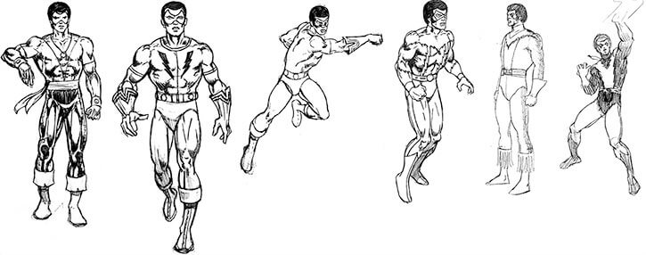 Black Lightning costume research sketches by Trevor von Eeden
