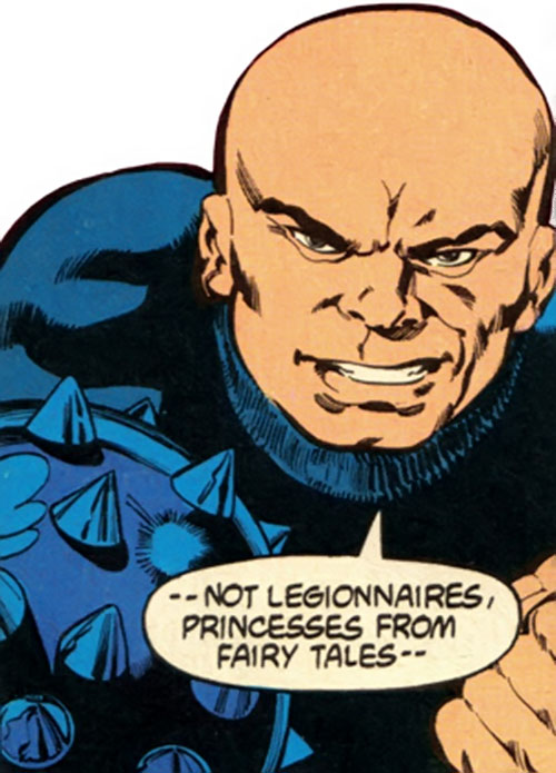 Black Mace (Legion of Super-Heroes enemy) face closeup
